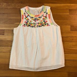 J. Crew White Floral Top